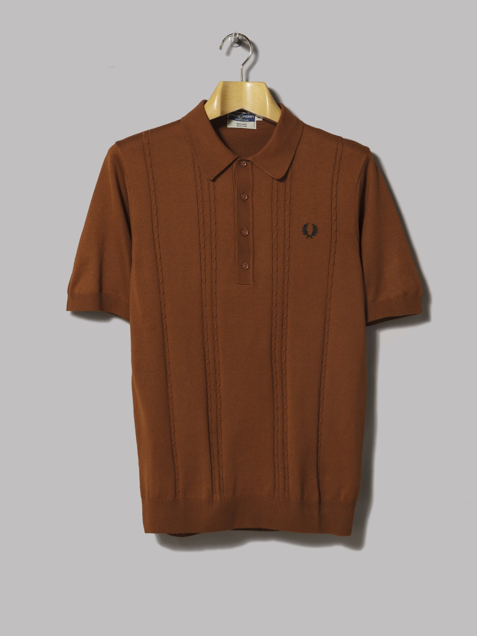 75a2d2316c2ea4 Fred Perry Short Sleeved Cable Knit Shirt (Dark Caramel) – Oi Polloi