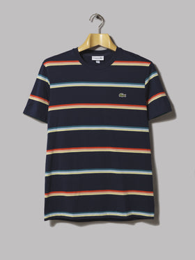 9182574f155 Lacoste Contrast Collar Polo (Sky and White Stripe)
