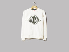 Lacoste L!VE Diamond Logo Fleece Sweatshirt (Ecru / Green)