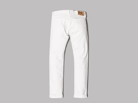 Double RL Distressed Slim Fit Jean (Off White)