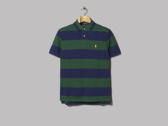 Polo Ralph Lauren Striped Custom Slim Fit Polo (New Forest / Holiday Navy)