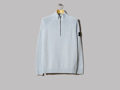 Stone Island Light Raw Cotton Zip Neck Knitwear (Cielo)