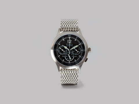 Techné Instruments Merlin 296 Quartz Dual-Time Field Watch (Brushed 316L Stainless Steel / Shark Milanese mesh)