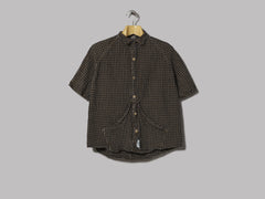 Tender Short Sleeve Raglan Wallaby Shirt Indigo Welsh Check Calico (Walnut Dye)