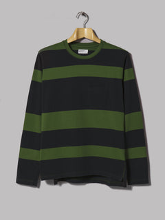 Universal Works Long Sleeve Tee (Rugby Stripe Green)