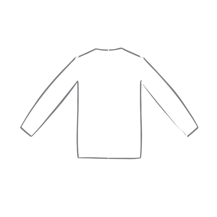 Size chart diagram for Long Sleeve Top