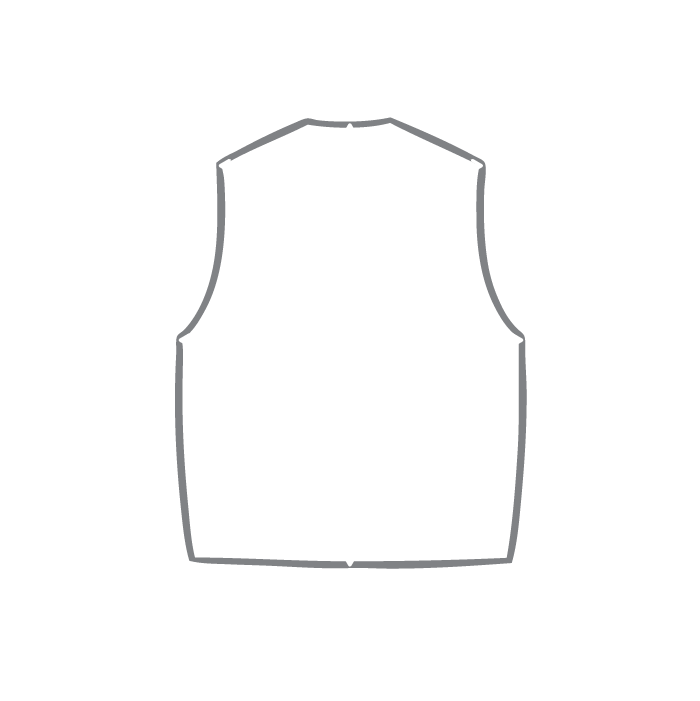 Size chart diagram for Sleeveless Top