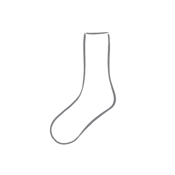 Size chart diagram for Socks