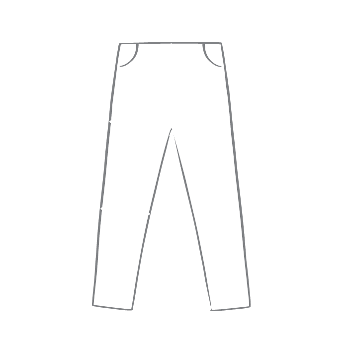 Size chart diagram for Trousers