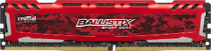 Ballistix Sport LT 8GB DDR4 2400MHz Desktop Gaming Memory Red