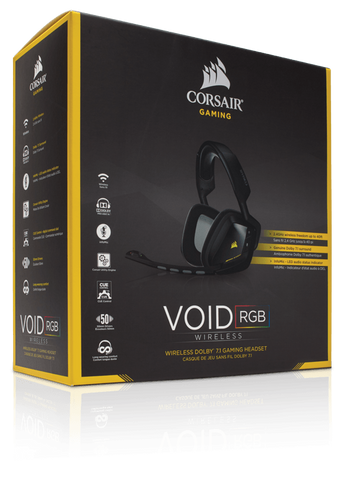 CORSAIR VOID Wireless Dolby 7.1 RGB Gaming Headset — blacK + Yellow highlight