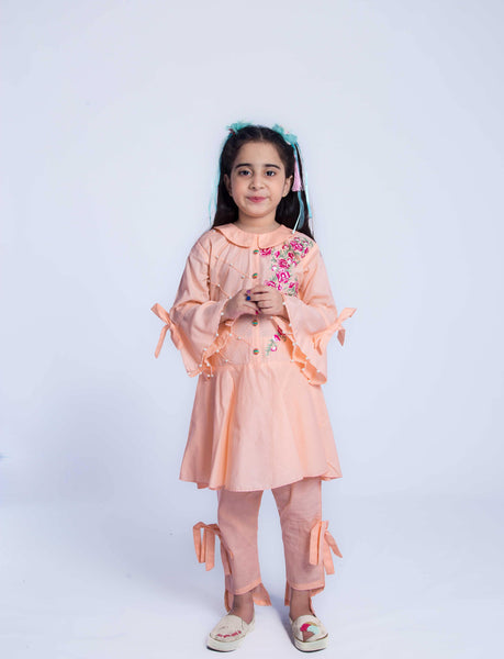 Lily - Summery Cotton Shirt & Trouser - Peach - Modest Clothing