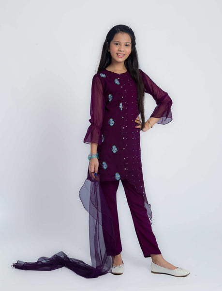 Purple Embroidered Suit - Modest Clothing