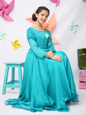 Girls Green Silk Dress