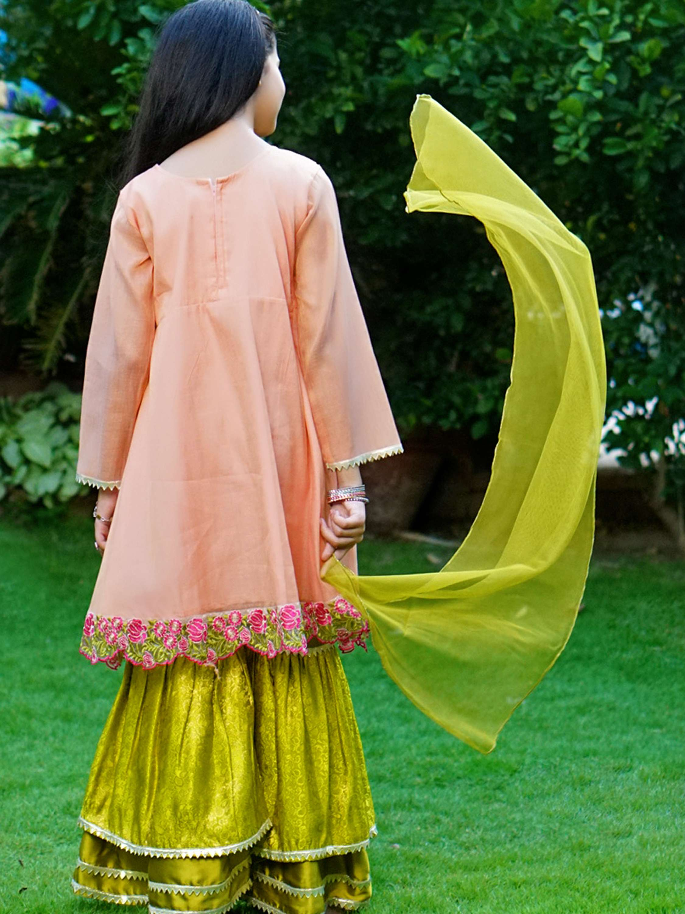 Traditional embellished Gharara - Peach - Modest Clothing