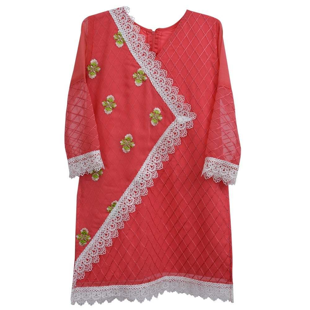 Tea Pink Laces Floral Girls - Kurti - Modest Clothing