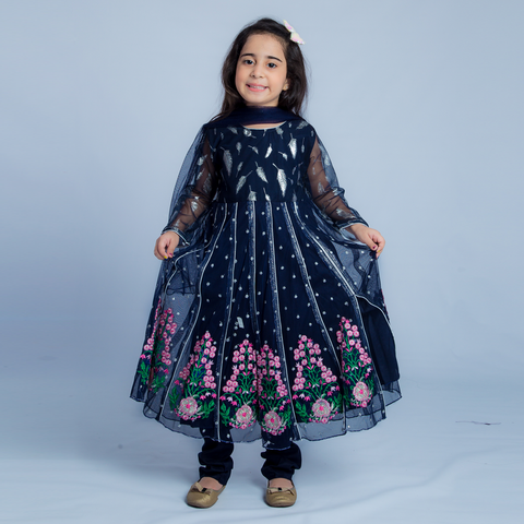 Embroidered Fantasy – Blue – Kids Girl Maxi 3 Piece - Modest Clothing