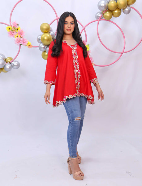 Ulfat Red Embroidered Kurti