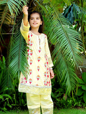 Dhanak - Embroidered Shirt & Trouser - Custard - Modest Clothing