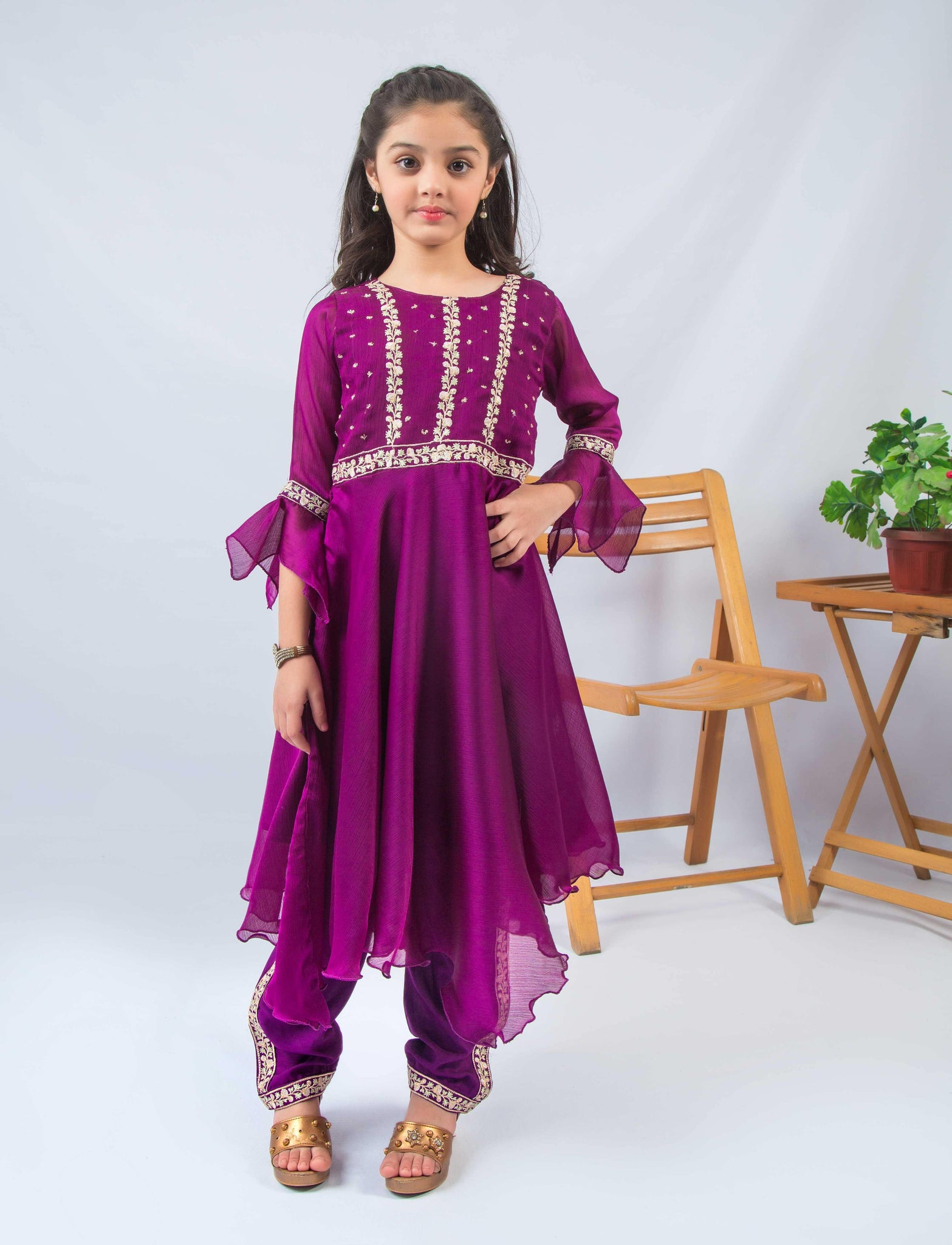 Purple Adorn (purple chiffon dress) - Modest Clothing