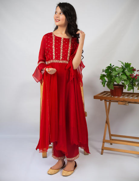 Red Illusion (red chiffon) - Modest Clothing