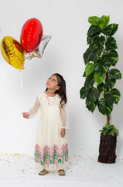 Embroidered Fantasy - Cream - Kids Girl Long Maxi 3 Piece - Modest Clothing