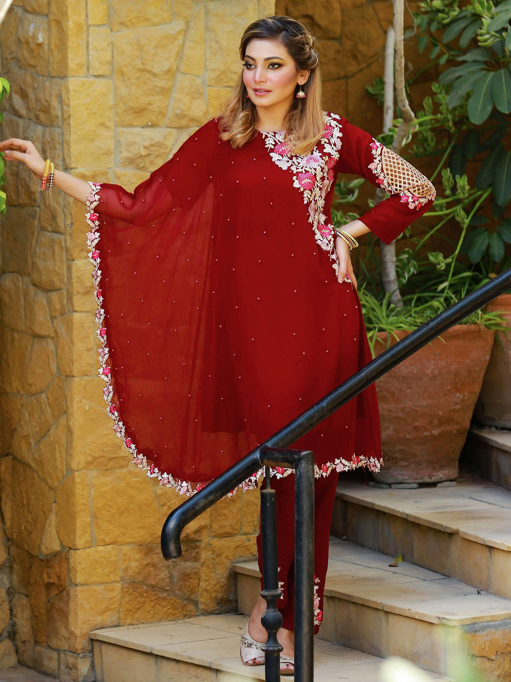 Maroon Embroidered Poncho - Women - Modest Clothing