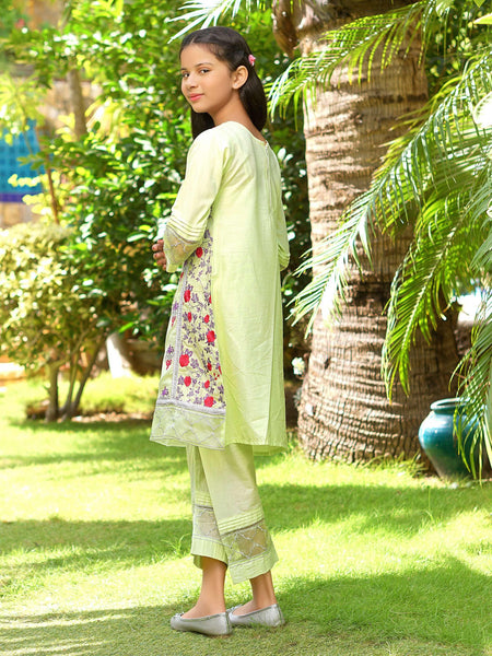 Dhanak - Embroidered Shirt & Trouser - Green - Modest Clothing