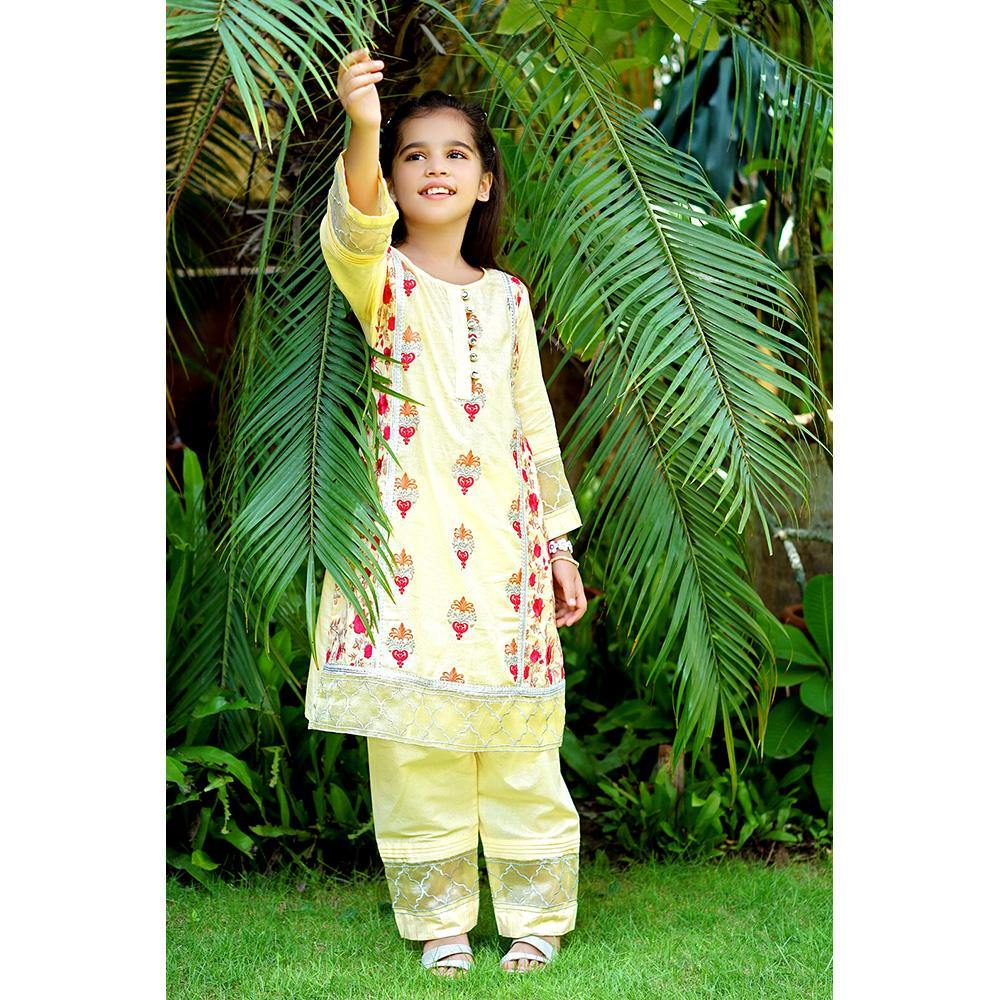 Dhanak - Embroidered Shirt - Custard - Modest Clothing