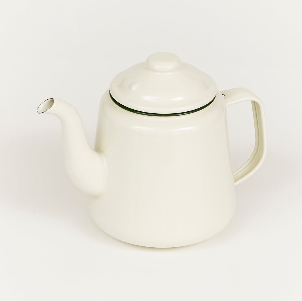 EN060C Enamel Tea Pot with green rim