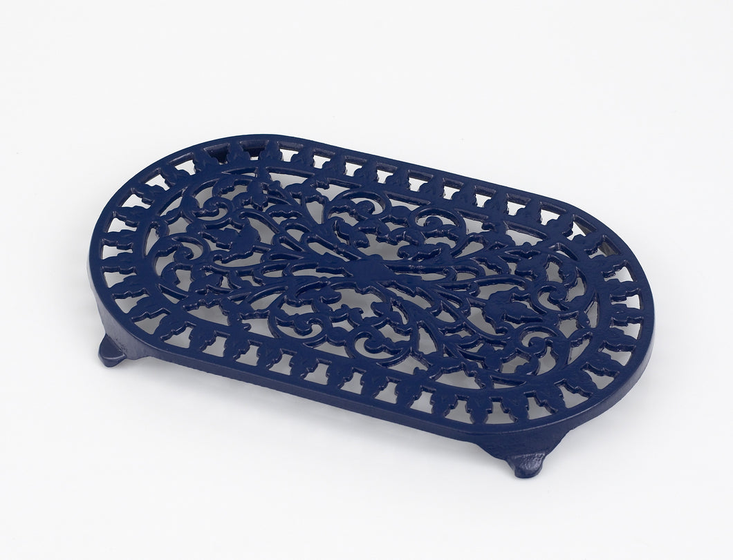 VCW315BL Cast Iron Oval Trivet Blue