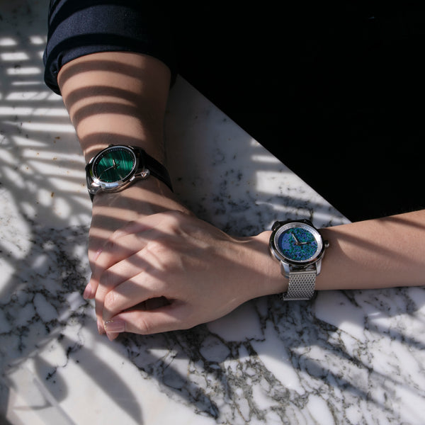 Malachite Carbon Black - Aura Jewellery Watch Series