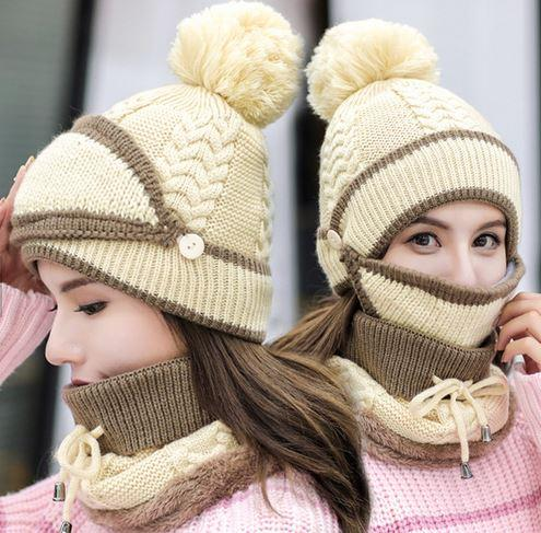 3 in 1 Winter Knitted Beanie Hat Face Neck Warmer Set