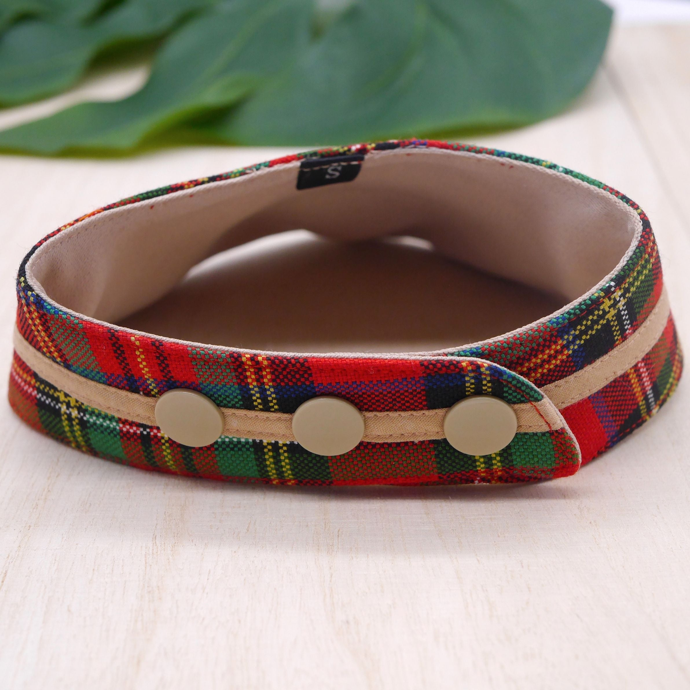 Bandanas - Royal Tartan Print with Brown Band - The Pet's Couture