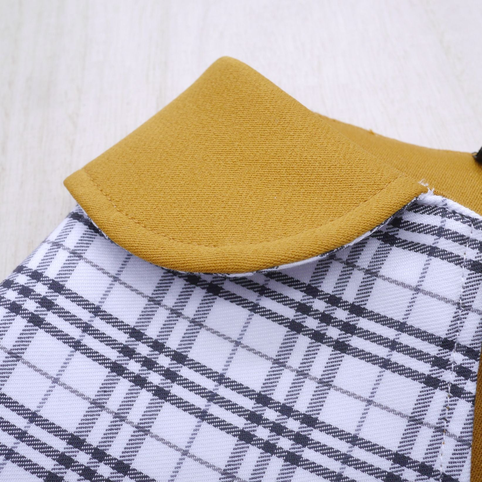 Capes - Mustard Collar with White Tartan Print - The Pet's Couture