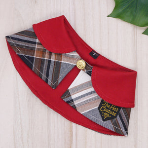 Capes - Burgundy Collar with Burberry Inspired Tartan - The Pet's Couture