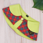 Capes - Limegreen Collar with Red Tartan - The Pet's Couture