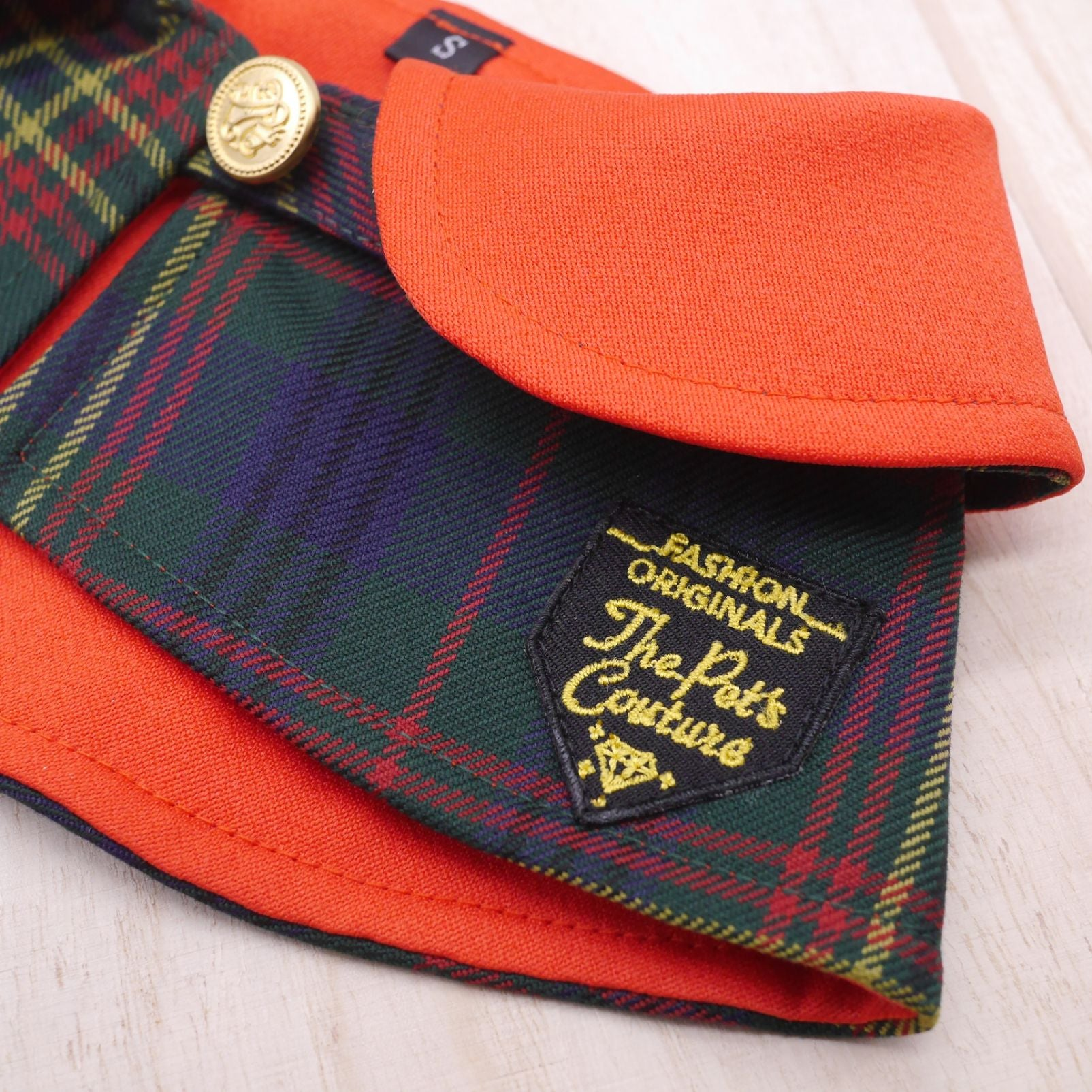 Capes - Imperial Red Collar with Tartan Print - The Pet's Couture