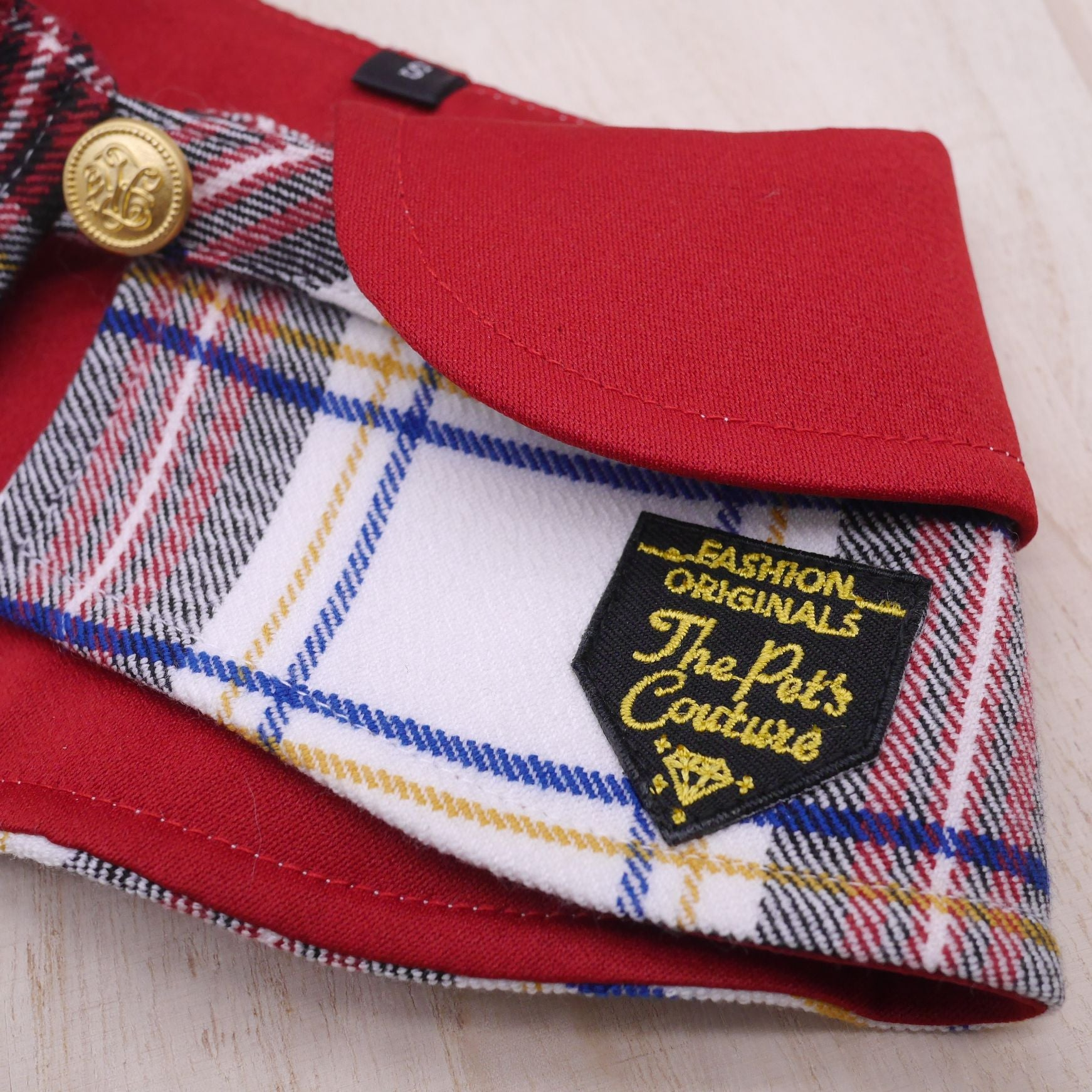 Capes - Imperial Collar with Cream Tartan Print - The Pet's Couture