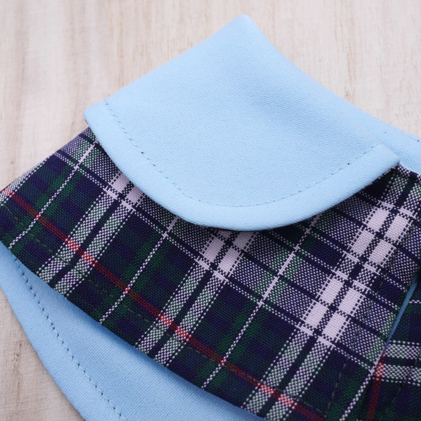 Capes - Baby Blue Collar with Tartan Print - The Pet's Couture