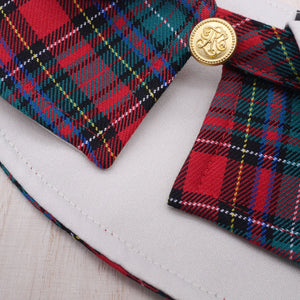 Capes - White Collar with Royal Tartan Print - The Pet's Couture