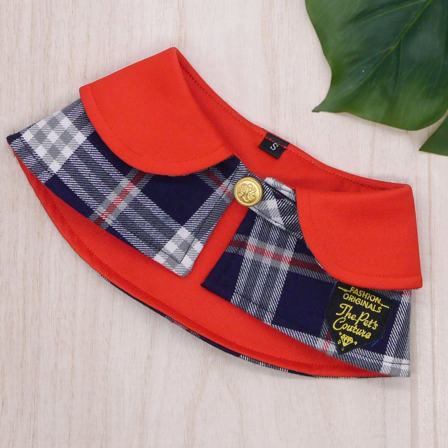 Capes - Imperial Collar with Black Tartan Print - The Pet's Couture