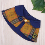 Capes - Azure Collar with Mustard Tartan Print - The Pet's Couture