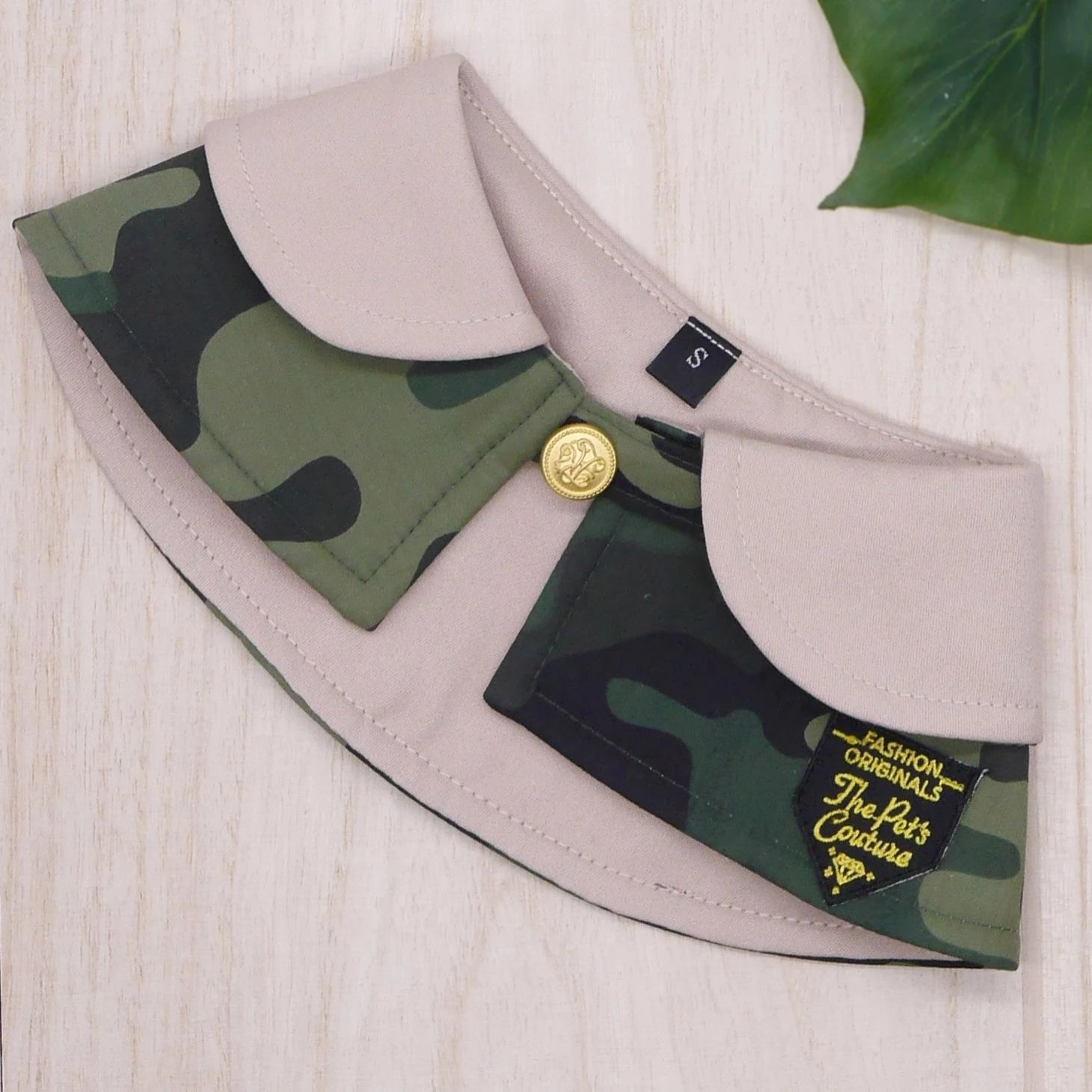 Capes - Cream Collar with Camo Print - The Pet's Couture
