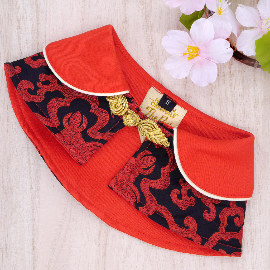 Capes -  Black Garnet with Red Collar | Chinese New Year Edition - The Pet's Couture