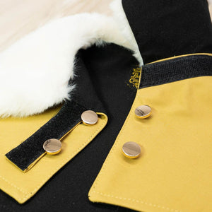 White Faux Fur Collar Trench Coat in Goldenrod - The Pet's Couture