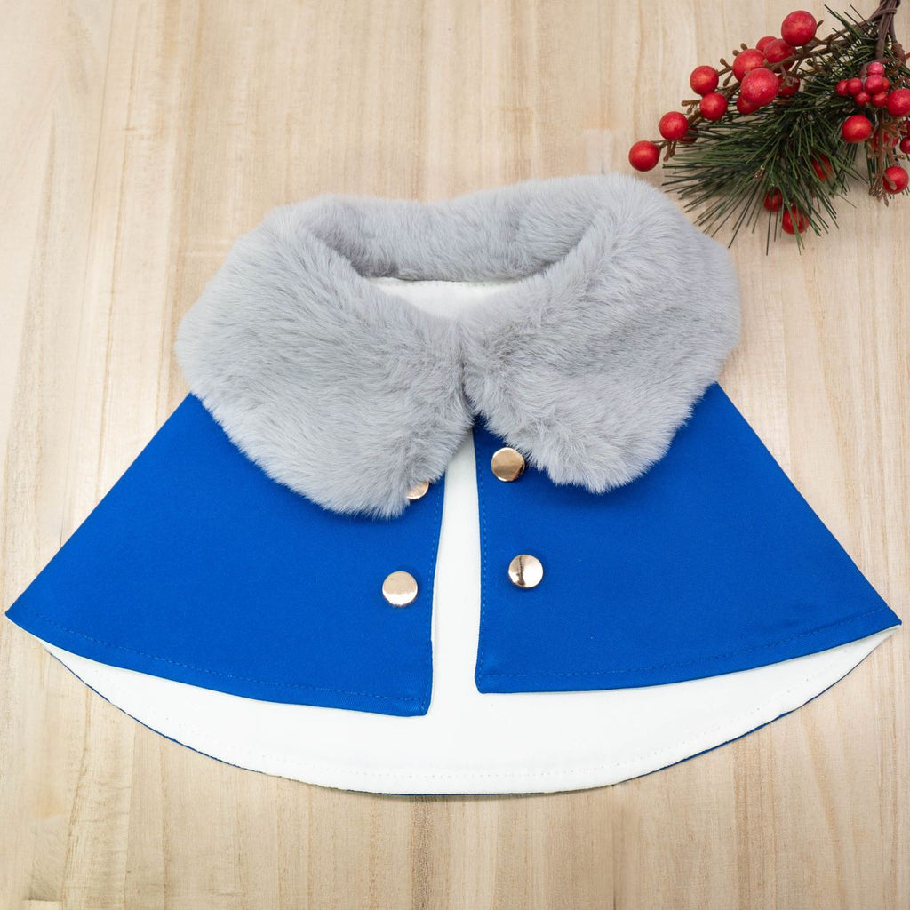 Silver Grey Faux Fur Collar Trench Coat in Royal Blue - The Pet's Couture