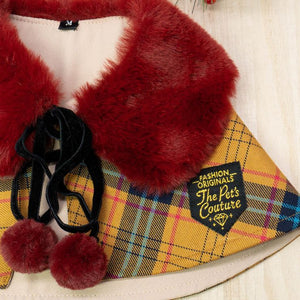 Scarlet Faux Fur Collar Trench Coat in Autumn Brown Tartan - The Pet's Couture