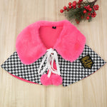 Fuscia Pink Faux Fur Collar Trench Coat in Houndstooth - The Pet's Couture