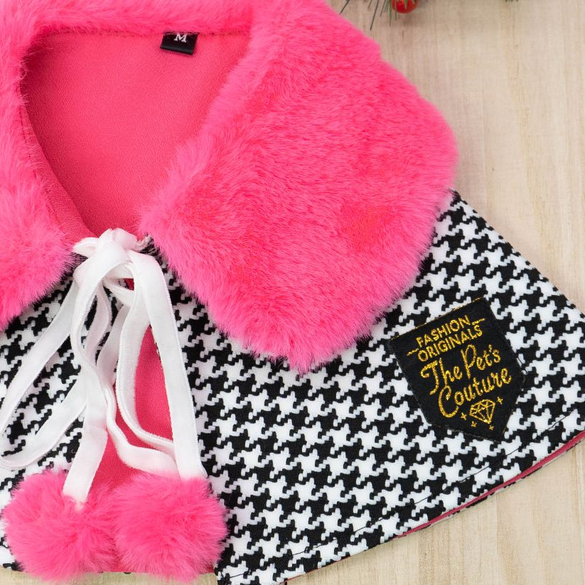 Xmas Cape - Fuscia Pink Faux Fur Collar Trench Coat in Houndstooth